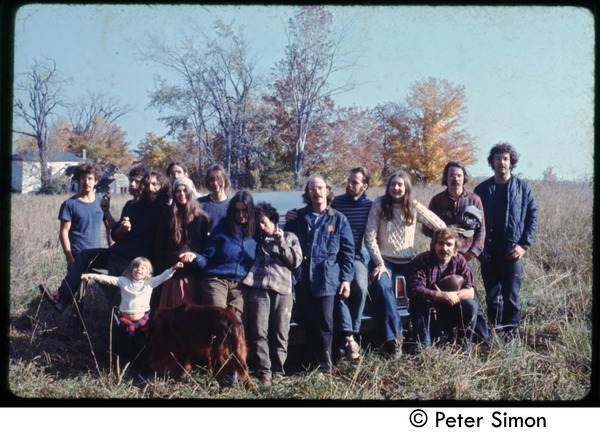 Commune members gathered, Tree Frog Farm Commune: Includes Catherine Blinder, Elliot Blinder, Harry Saxman from Tree Frog Farm, Verandah             Porche and Richard Wizansky from Packer Corners, and others: , ca. 1972