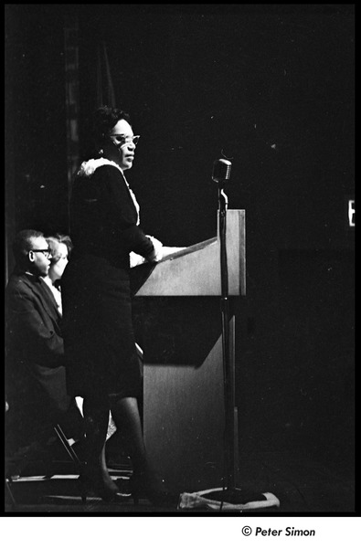 Martin Luther King Jr. rally at the Fieldston School: unidentified woman speaking, April 18, 1964