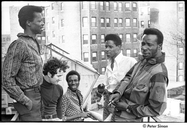 Chambers Brothers: (l-r) George Chambers, Brian Keenan, Joe Chambers, Willie Chambers, and Lester Chambers on a fire escape, 1966