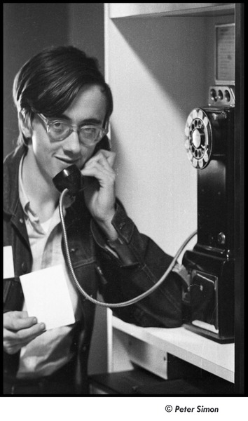 United States Student Press Association Congress: Raymond Mungo on a pay phone, August 1967