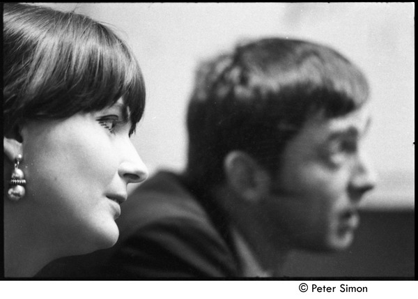 Ian and Sylvia at the Unicorn: Sylvia Tyson (foreground) and Ian Tyson backstage, ca. September 1967