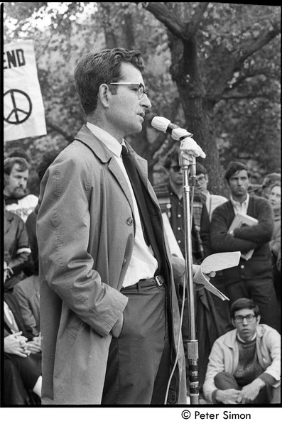 Resistance rally: Noam Chomsky speaking at rally on Boston Common, October 16, 1967