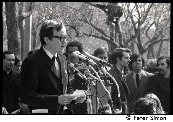Resistance on the Boston Common: Michael Ferber addressing the crowd, April 3, 1968