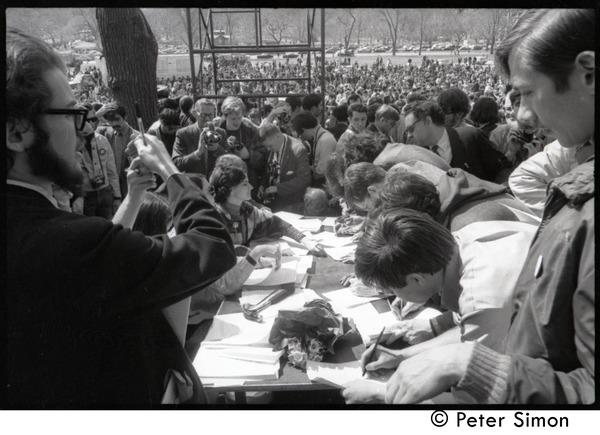 Resistance on the Boston Common: protesters registering at the Resistance table, April 3, 1968