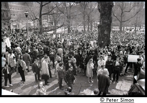 Marchers commemorating Martin Luther King, Boston Common, gathered below the             State House, April 8, 1968