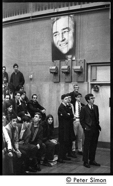 Audience awaiting speech by presidential candidate Eugene McCarthy at Boston