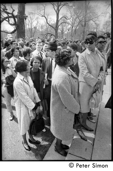 Demonstration on steps of the Massachusetts State House following the             assassination of Martin Luther King: demonstrators standing on the steps, April 5, 1968