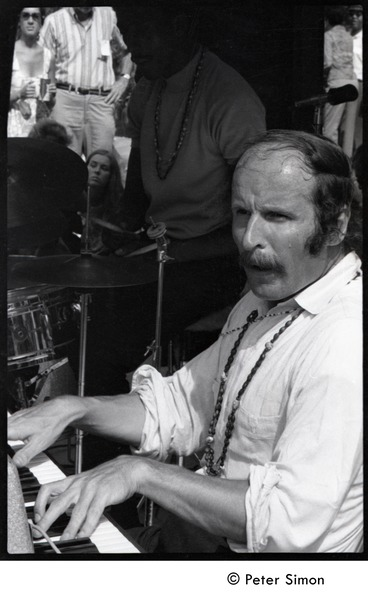 Joe Zawinul on keyboards with the Cannonball Adderley Sextet, performing at Jackie Robinson's jazz concert, June 30, 1968