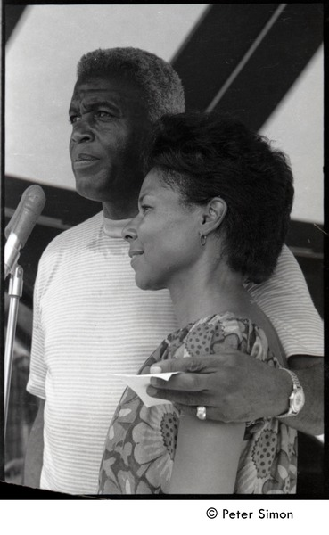 Jackie and Rachel Robinson standing at the microphone, June 30, 1968