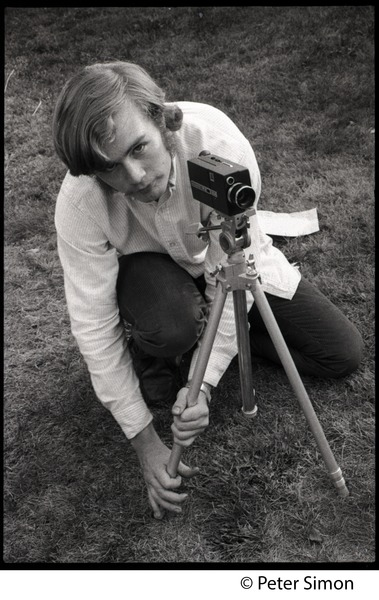Jeff Albertson with a 8mm motion picture camera, September 19, 1968