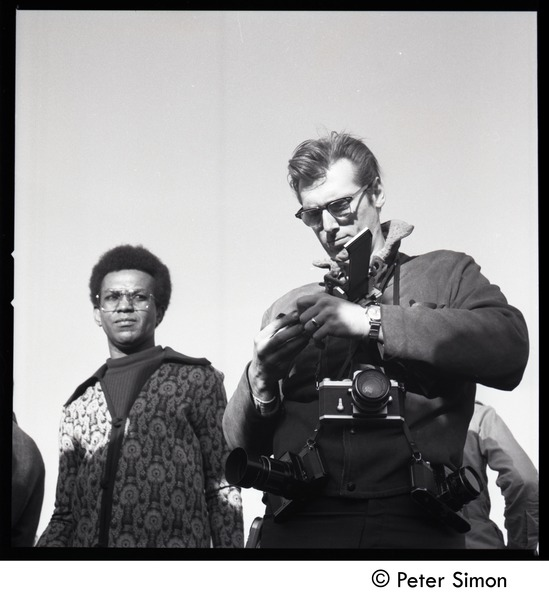 Photographer, decked out with cameras, at the Be-In, Central Park, New York City, April 5, 1969