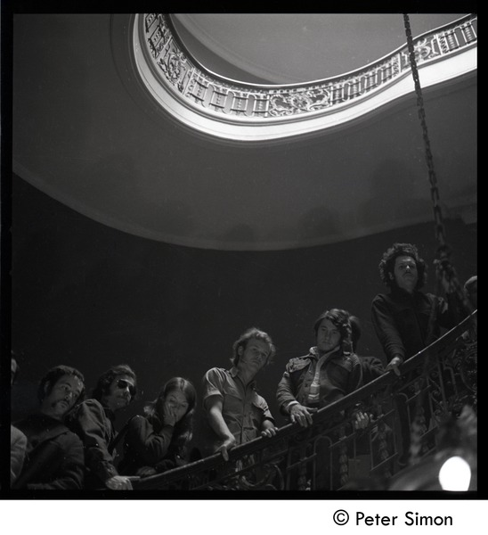 Antiwar protesters occupying University Hall, Harvard (?):occupiers on the             stairway, April 15, 1969