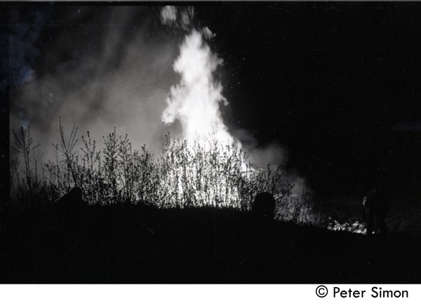 After the Maypole celebration, Packer Corners commune: bonfire, ca. May 1, 1969