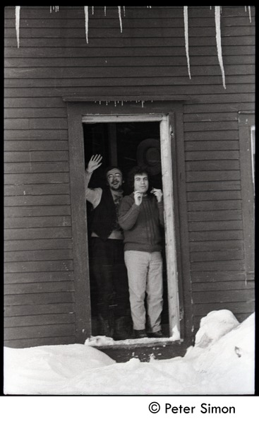 Richard Wizansky (right) and Raymond Mungo, waving from the doorway, Tree Frog             Farm commune, 1970