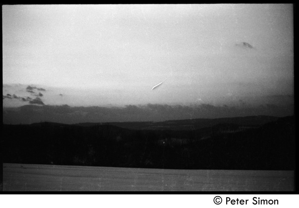 Snowy fields at sunset, Tree Frog Farm commune, 1970