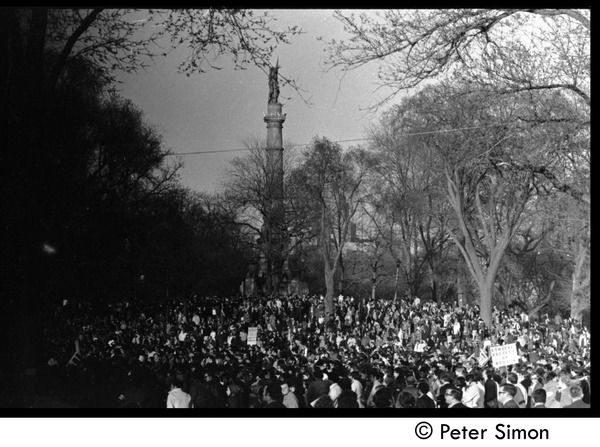 Massive crowd of protesters gathered under the Soldiers and Sailors Monument,             Boston Common: Moratorium to End the War in Vietnam protest on Boston Common: , April 15, 1970