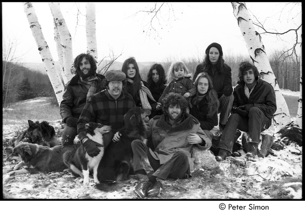 Group portrait: (l.-r.) Elliot Blinder, Harry Saxman, Catherine Blinder, Bonnie Fisher, Peter Simon, Lacey Mason, Jenny Rose, and Tim Rossner with dogs, December 6, 1970