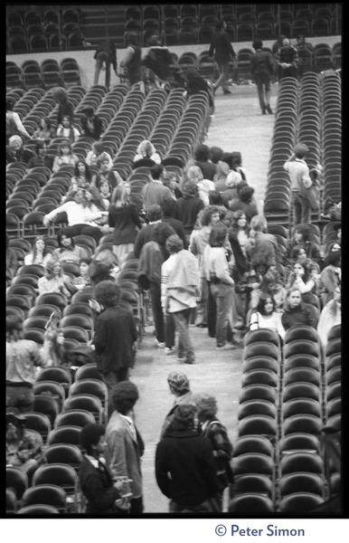 People taking seats at the Boston Garden to see Bob Dylan with The Band, ca. January 14, 1974