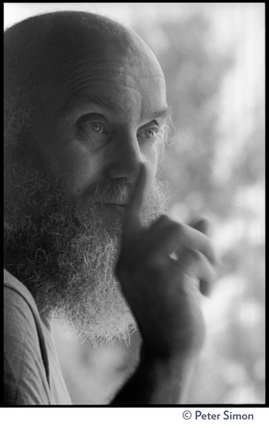 Ram Dass: close-up portrait, gesturing with a finger, at the Rowe Center spiritual retreat, ca. May 26, 1975