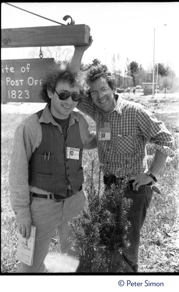 From left: Charles Light and Daniel Keller (wearing press passes for Green Mountain Post Films) at the             occupation of Seabrook Nuclear Power Plant, ca. April 30, 1977