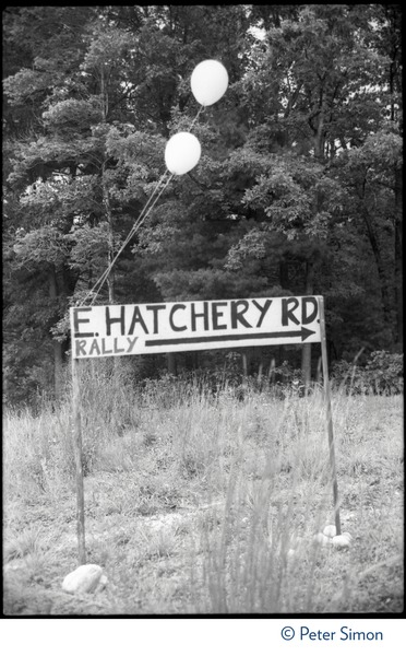 Makeshift sign for East Hatchery Road, Montague, site of the Alternative Energy Coalition antinuclear demonstration on Montague             Plain, ca. August 8, 1977