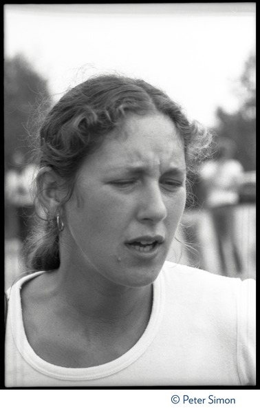 Anna Gyorgy at the Alternative Energy Coalition antinuclear demonstration on Montague             Plain: bust portrait, ca. August 8, 1977