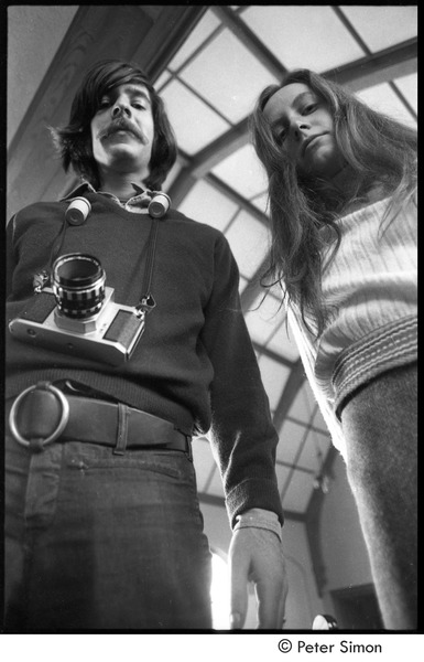 Lacey Mason with an unidentified man in a small chapel, ca. 1969
