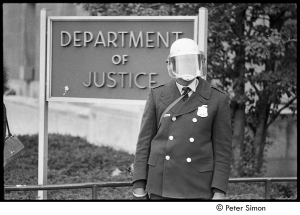 Member of the Civil Disturbance Unit in front of the Department of Justice, ca. 1970