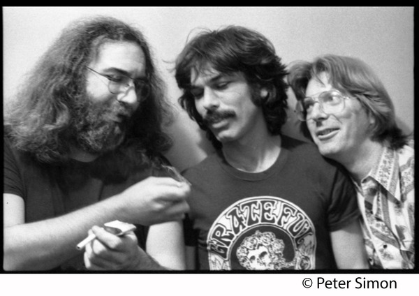 Jerry Garcia, Mickey Hart, and Phil Lesh (l. to r.): Grateful Dead in the studio (Automated Sound), ca. 1977