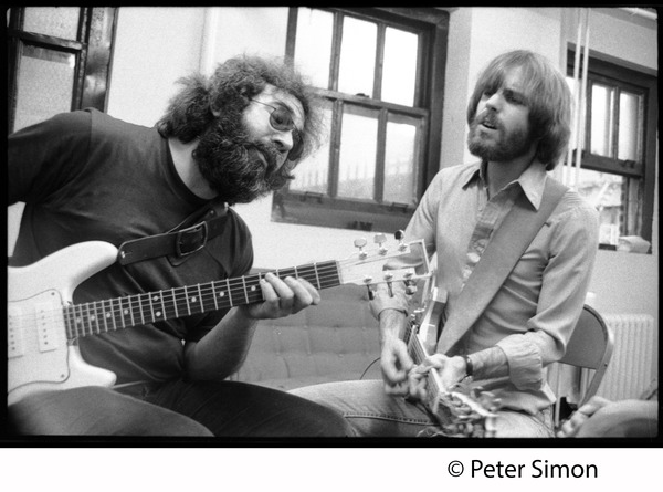 Jerry Garcia and Bob Weir, singing and playing guitar: Grateful Dead in the studio (Automated Sound), ca. 1977