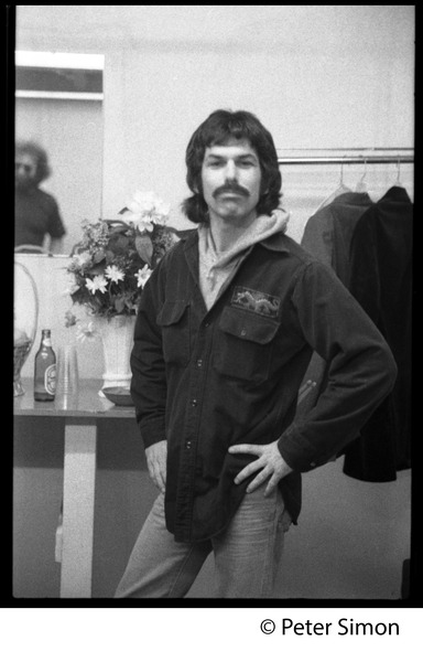 Grateful Dead on stage: Mickey Hart with hands on hips (Jerry Garcia reflected in a mirror): , ca. 1977