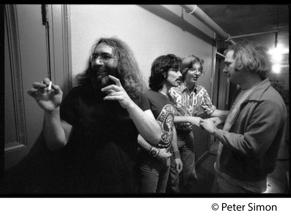 Grateful Dead backstage (left to right): Jerry Garcia, Mickey Hart, Phil Lesh, and Bill             Kreutzman, November 1979