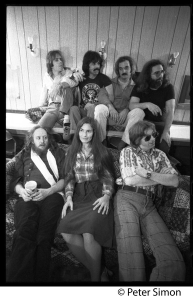 Grateful Dead backstage (rear, left to right): Bob Weir, Mickey Hart, Bill