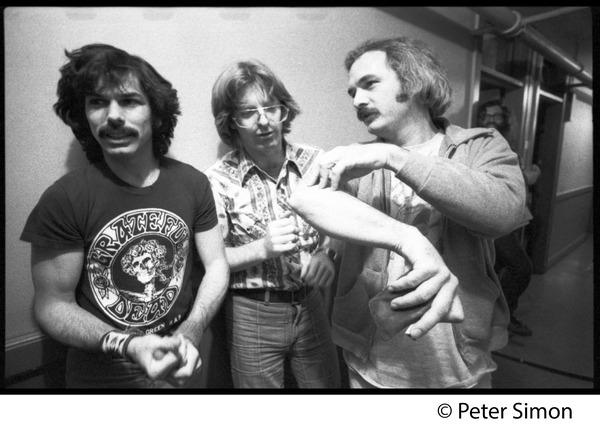 Grateful Dead backstage (left to right): Mickey Hart, Phil Lesh, and Bill Kreutzman, November 1979