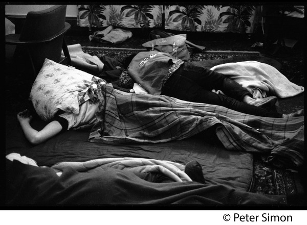Sanctuary movement and occupation of Marsh Chapel, Boston University: Students sleeping under blankets outside the Chapel: , ca. October 5, 1968