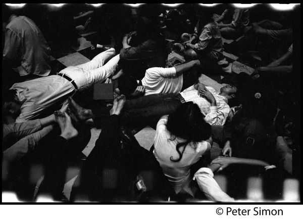 Sanctuary movement and occupation of Marsh Chapel, Boston University: Students lying on the floor, asleep, in the Chapel: , ca. October 5, 1968