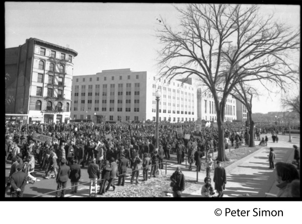 Protesters marching down Pennsylvania Avenue: Vietnam Moratorium march on Washington, November 15, 1969