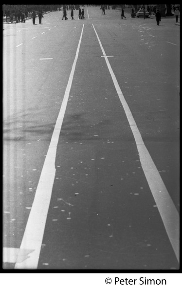 White lines on the road: Vietnam Moratorium march on Washington, October 21, 1967