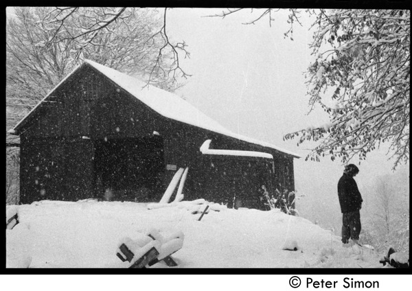 Communal barn in falling snow, Packer Corners commune, ca. 1968