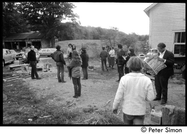 Members and friends of Packer Corners commune standing around outside the house: Group includes, among others: Elliot Blinder (leather jacket), Verandah Porche, Richard Wizansky, Marty Jezer, Harry Saxman,             Laurie Dodge (back to camera), Don McLean: , ca. 1968