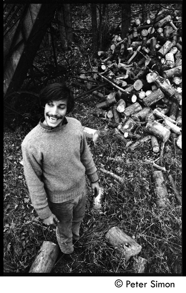 Elliot Blinder chopping wood and the results, Packer Corners commune, ca. 1968