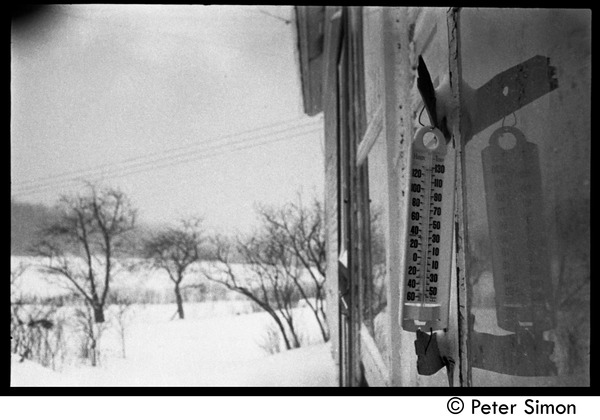 Thermometer on a cold winter day, Packer Corners commune, ca. 1968
