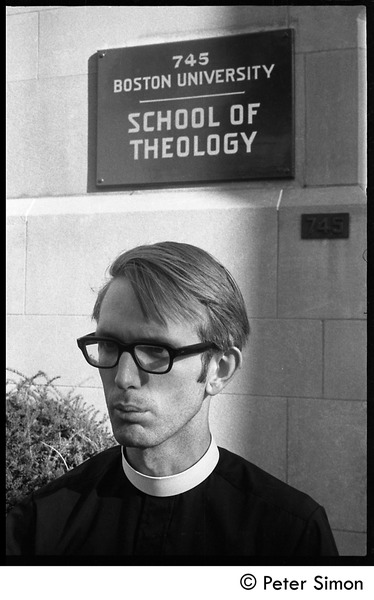 Sanctuary movement and occupation of Marsh Chapel: Young priest in front of the Boston University School of Theology: , ca. October 5, 1968