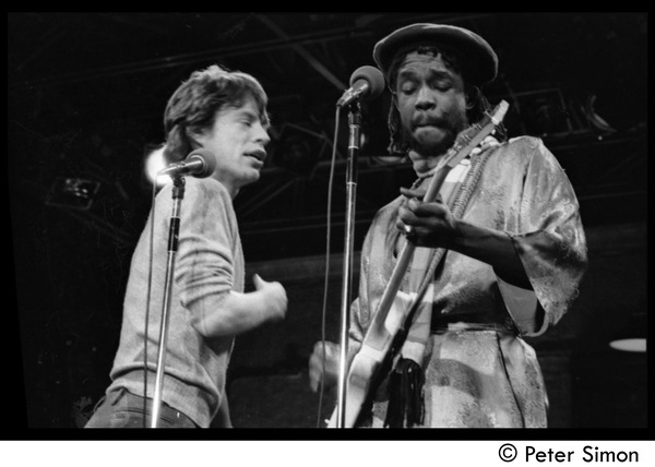 Mick Jagger (left) performing with Peter Tosh on Saturday Night Live, ca. December 16, 1978