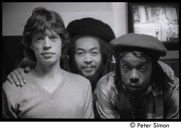 Mick Jagger, unidentified man, and Peter Tosh (l. to r.) backstage on Saturday Night Live:             close-up portrait, ca. December 16, 1978