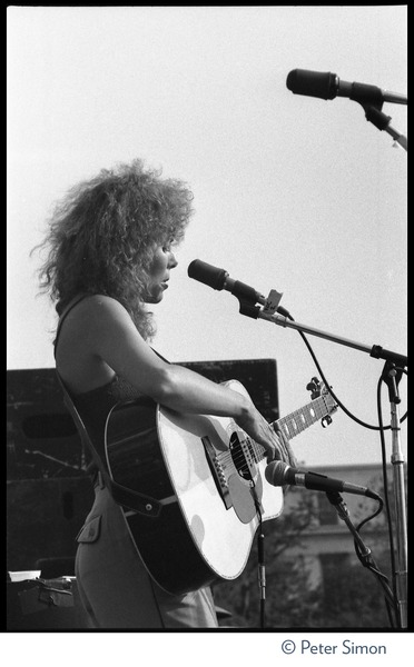 Joni Mitchell performing at the No Nukes concert and protest, Washington, D.C., May 6, 1979