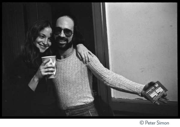 Bruce Springsteen and the E Street Band in concert at the Boston Music Hall: Roy Bittan (?) and unidentified woman backstage: , December 1975