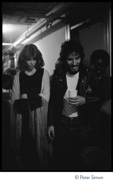 Bruce Springsteen and the E Street Band in concert at the Boston Music Hall: Springsteen back stage with girlfriend Karen Darvin (?): , December 1975