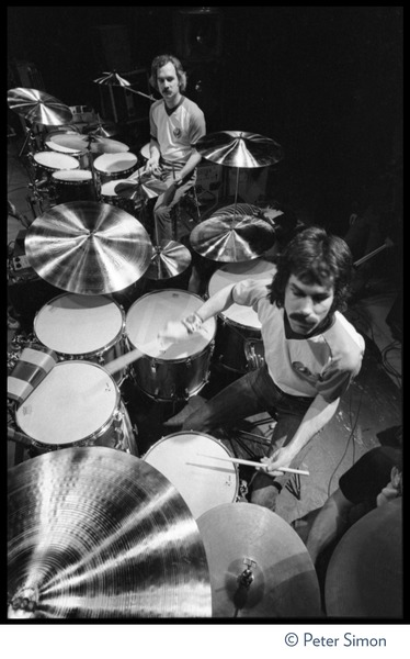 Bill Kreutzman (top) and Mickey Hart, drummers for the Grateful Dead at their             kit, ca. 1977