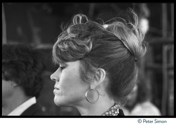 Jane Fonda at the Musicians United for Safe Energy concert: Close-up portrait in profile, eyes closed: , ca. September 23, 1979
